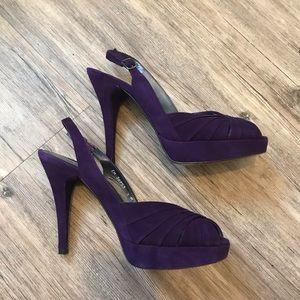 Stuart Weitzman royal purple suede slingbacks sz 8
